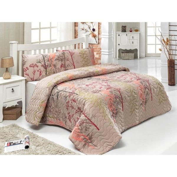 Twin Brown kétszemélyes ágytakaró párnahuzattal, 200 x 220 cm