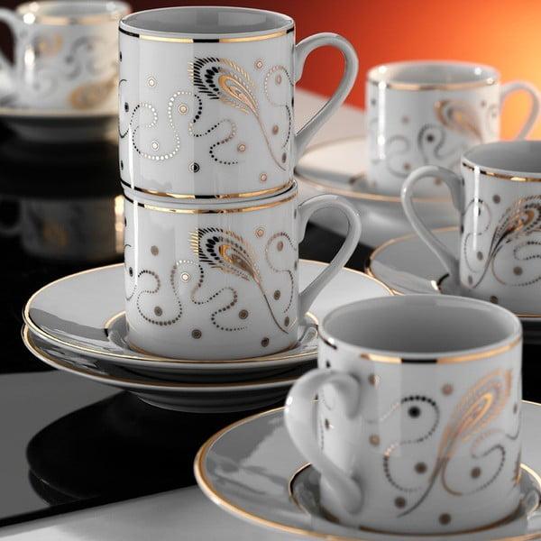 Zlato 6 darabos porcelán csésze és csészealj készlet - Kutahya
