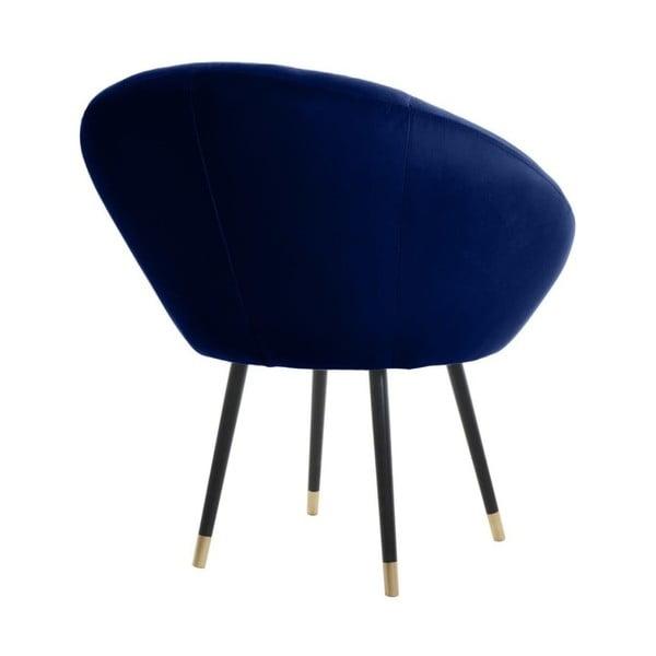 Bjorn French Velvet sötétkék fotel aranyszínű részletekkel - JohnsonStyle