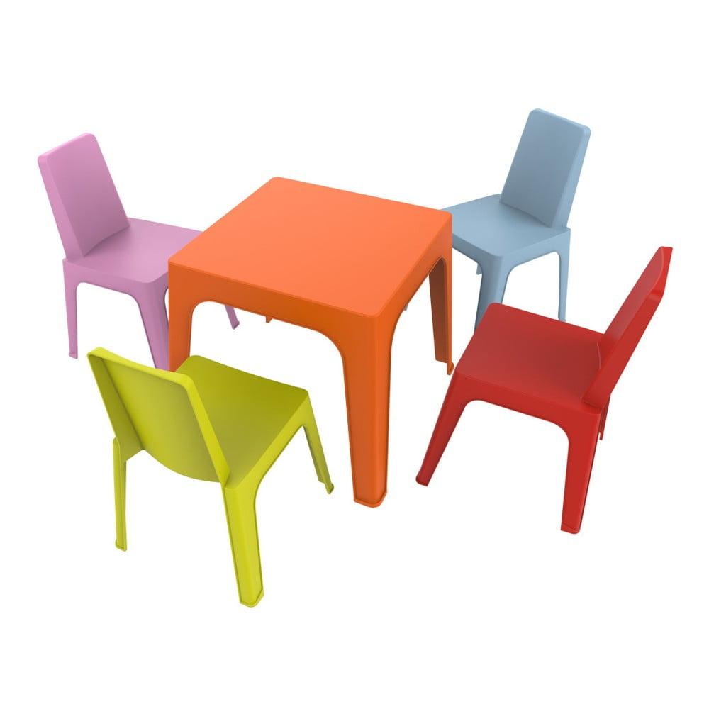 Julieta gyerek kerti bútor garnitúra, 1 narancssárga asztal és 4 szék Resol