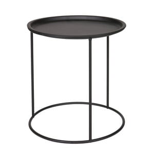 Ivar fekete tárolóasztal, ⌀ 40 cm - WOOOD