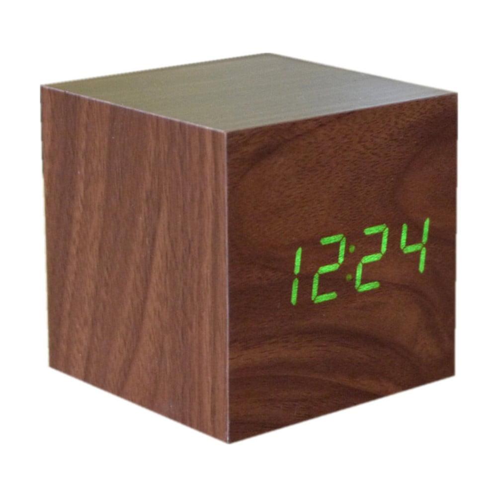 Cube Click Clock sötétbarna ébresztőóra zöld LED kijelzővel - Gingko ... bed856b773