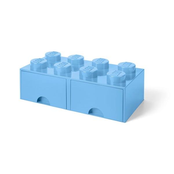 Négyszögeletes világoskék tárolódoboz 2 fiókkal - LEGO®