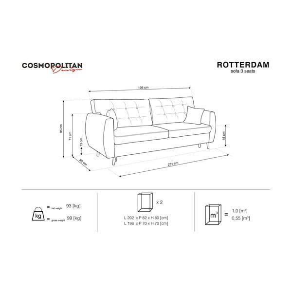 Rotterdam háromszemélyes fekete kinyitható kanapé tárolóval, 231 x 98 x 95 cm - Cosmopolitan design