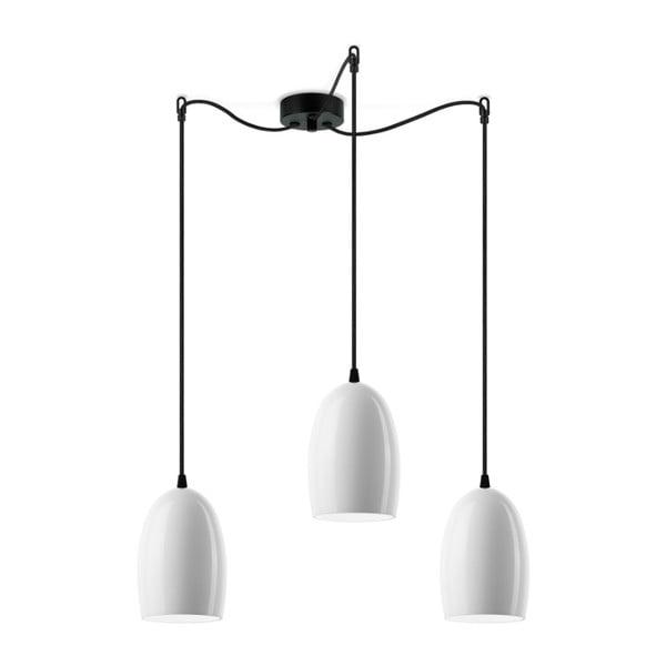 Ume háromágú fényes fehér függőlámpa, fekete kábellel - Sotto Luce