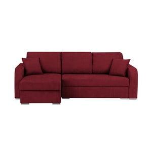 Tmavě červená třímístná rohová rozkládací pohovka s úložným prostorem Melart Louise