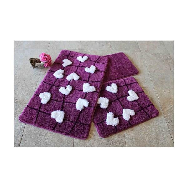 Violet Soft fürdőszobai kilépő, 3 darabos készlet
