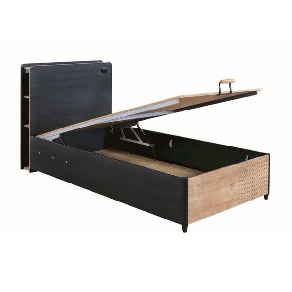 Black Bed With Base fekete egyszemélyes ágy tárolóhellyel, 100 x 200 cm