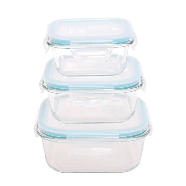 3 db üveg ételtároló, műanyag fedővel - Sabichi