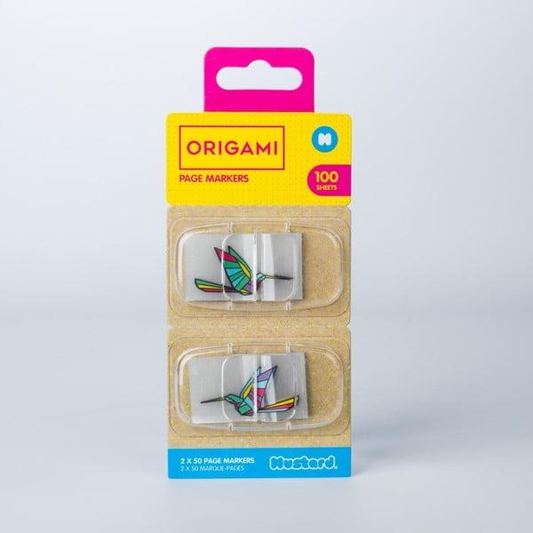 Origami öntapadós könyvjelzők - Just Mustard