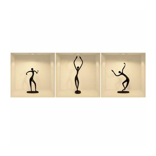 Dancing Figures 3D hatású 3 db-os falmatrica szett - Ambiance