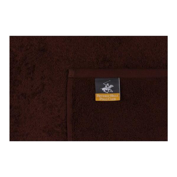 Beverly Hills Polo Club Horses 2 darabos barna törölköző szett szürke elemekkel, 90 x 50 cm