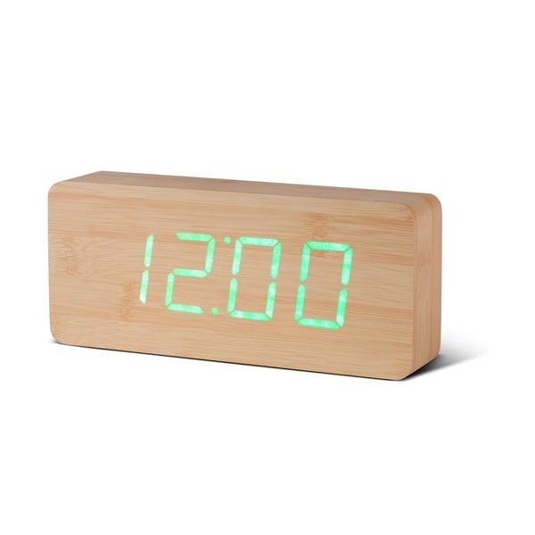 Slab Click Clock világosbarna ébresztőóra zöld LED kijelzővel - Gingko