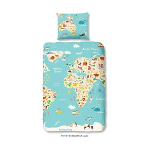 Worl Map egyszemélyes gyermek ágyneműhuzat garnitúra tiszta pamutból, 140 x 200 cm - Good Morning
