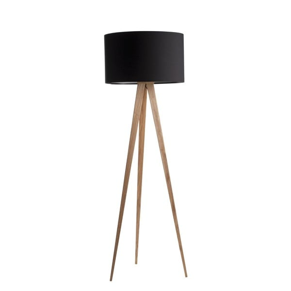 Tripod Wood fekete állólámpa fa lábakkal - Zuiver