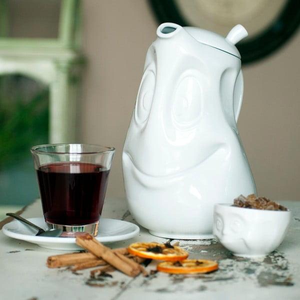Fehér 'mosolygós' teáskanna, 1200 ml - 58products