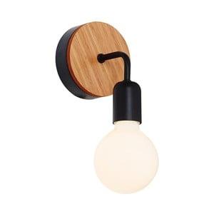 Valetta fekete fali lámpa, fa részletekkel - Homemania