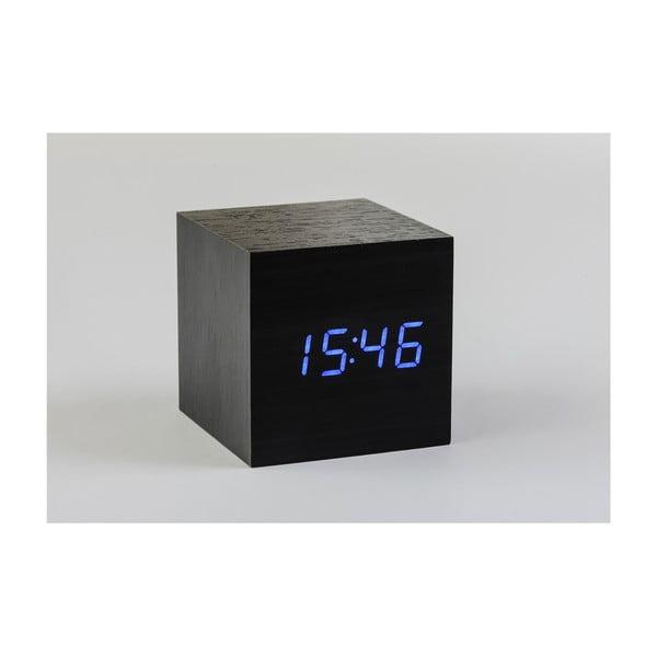 Cube Click Clock fekete ébresztőóra kék LED kijelzővel - Gingko