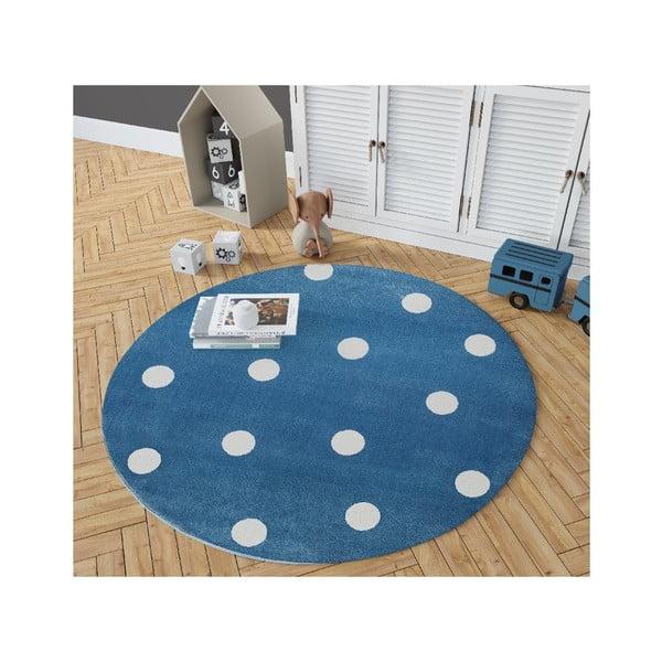 Blue kék, kerek szőnyeg csillag mintával, 100 x 100 cm - KICOTI
