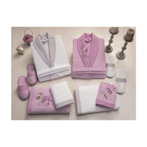 Set dámského a pánského županu, ručníků, osušek a 2 párů pantoflí v bílé a fialové barvě Family Bath