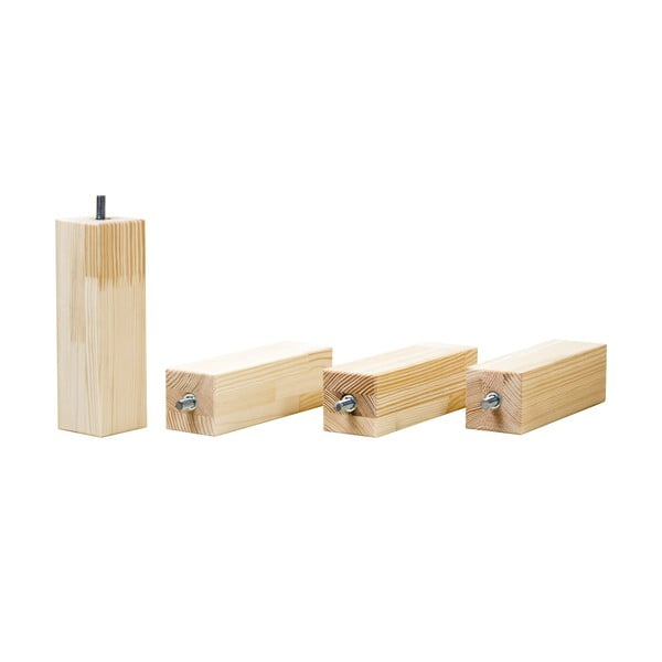Természetes ágy alatti fiók és 4 db-os ágymagasító láb szett, 80 x 200 cm-es ágyhoz - Benlemi