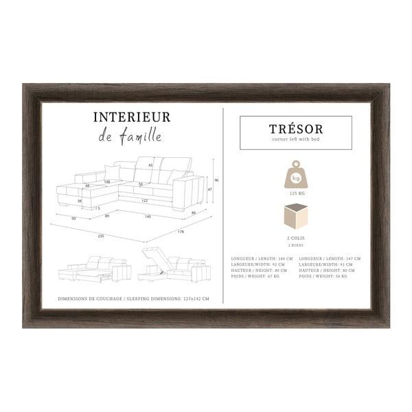 Tresor világosszürke kinyitható baloldali sarokkanapé - Interieur De Famille Paris