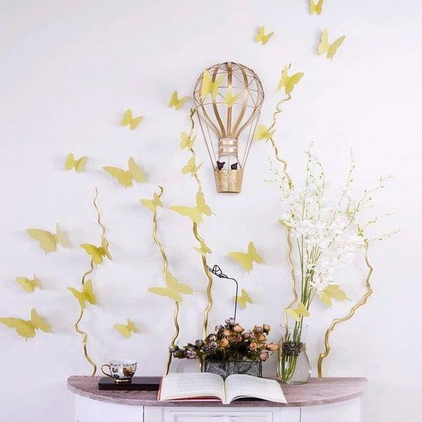 Butterflies aranyszínű 3D hatású 12 db-os falmatrica szett - Ambiance