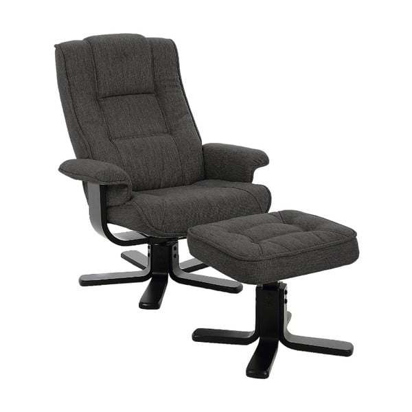 Limbo antracitszürke állítható fotel lábtartóval - Actona