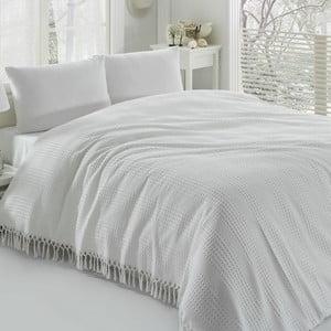 Pique fehér kétszemélyes pamut ágytakaró, 220 x 240 cm