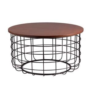 Ceslo fekete dohányzóasztal diófa mintás asztallappal - sømcasa