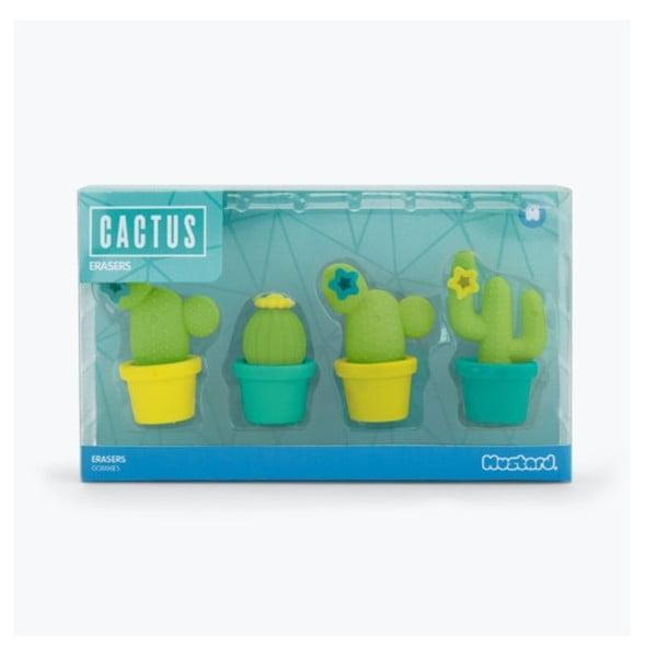 Cactus radírkészlet papírra, 4 darabos - Just Mustard