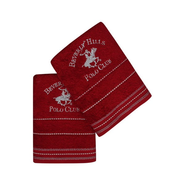 Polo Club piros kéztörlő szett, 2 darabos