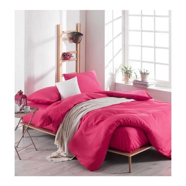 Rose rózsaszín ágyneműhuzat-garnitúra lepedővel kétszemélyes ágyhoz, 200 x 220 cm