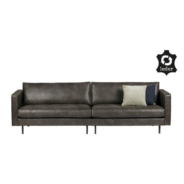 Rodeo fekete 3 személyes kanapé újrahasznosított bőrből - BePureHome
