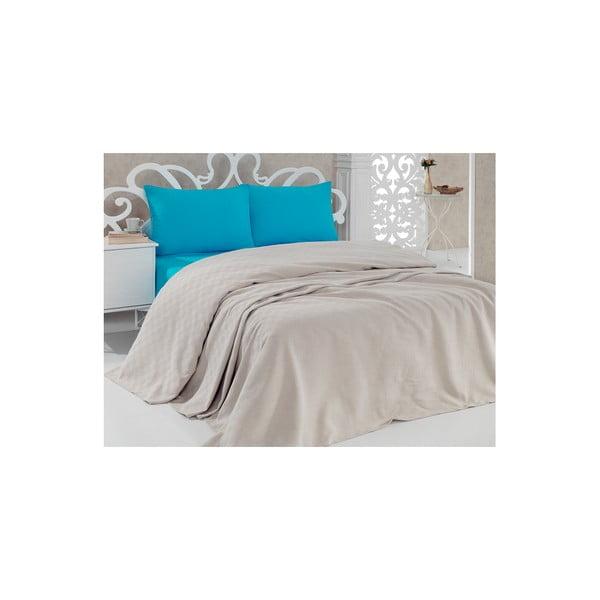 Pique Beige pamut ágytakaró, 200 x 240 cm