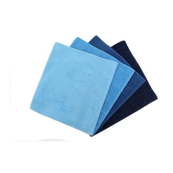 Rainbow Sky 4 db-os kék pamut törölköző szett, 50 x 90 cm