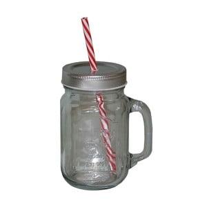 Handle befőttesüveg pohár, szívószállal - Antic Line