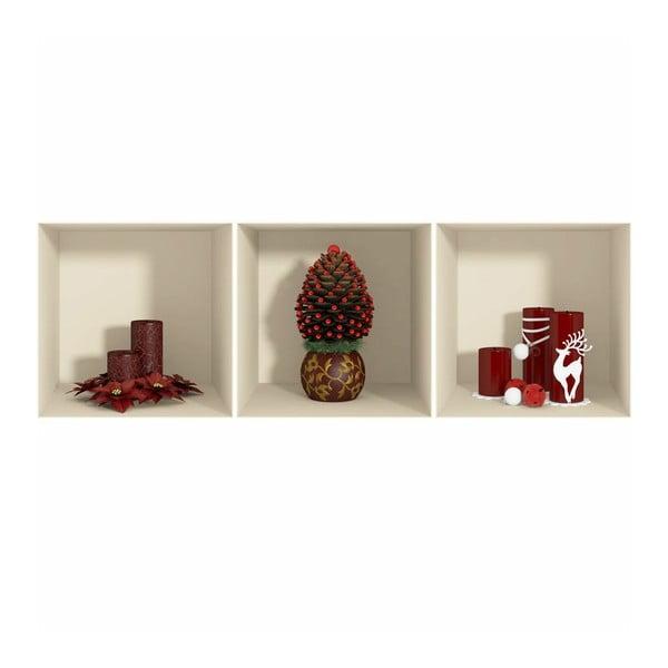 Fanastick Red Candles and Christmas Tree 3 db-os 3D hatású karácsonyi falmatrica szett - Ambiance