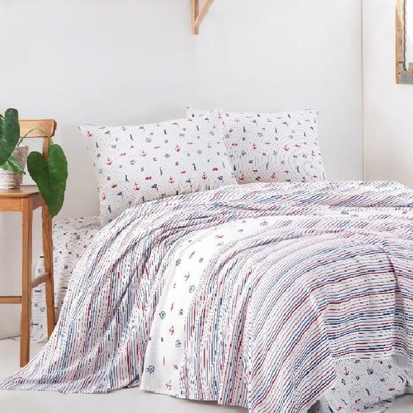 Pattern pamut ágytakaró egyszemélyes ágyra, lepedő és párnahuzatok szett, 160 x 220 cm