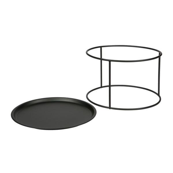 Ivar fekete tárolóasztal, ⌀ 56 cm - WOOOD