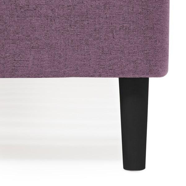 Mae King Size lila franciaágy fekete lábakkal, 180 x 200 cm - Vivonita