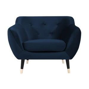 Amelie sötétkék fotel fekete lábakkal - Mazzini Sofas