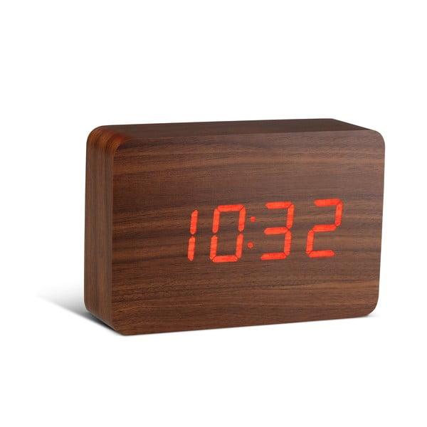 Brick Click Clock sötétbarna ébresztőóra, piros LED kijelzővel - Gingko