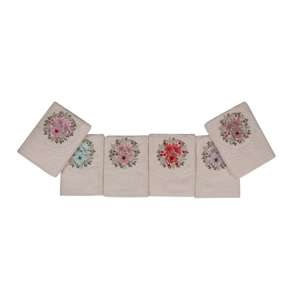 Fleures 6 db-os törölköző szett virágos hímzéssel, 90 x 50 cm