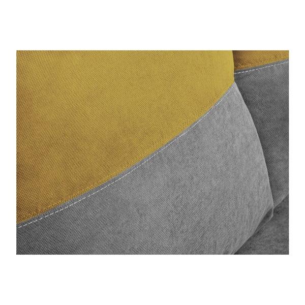 Frida szürke-citromsárga háromszemélyes sarokkanapé, ágyneműtartóval - Melart