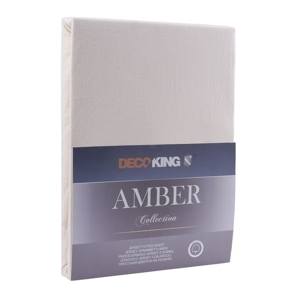 Amber Collection krémszínű pamut gumis lepedő, 100-120 x 200 cm - DecoKing