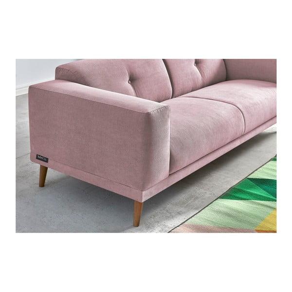 Luna rózsaszín háromszemélyes kanapé, lábtartóval - Bobochic Paris