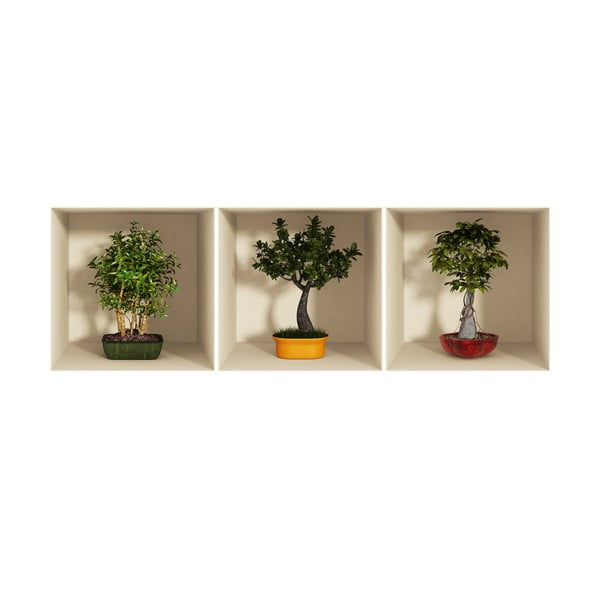 Bonsai Trees 3D hatású 3 db-os falmatrica szett - Ambiance