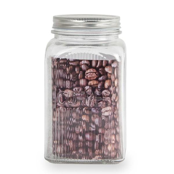 Üveg kávésdoboz rozsdamentes fedéllel, 1,2 l - Sabichi