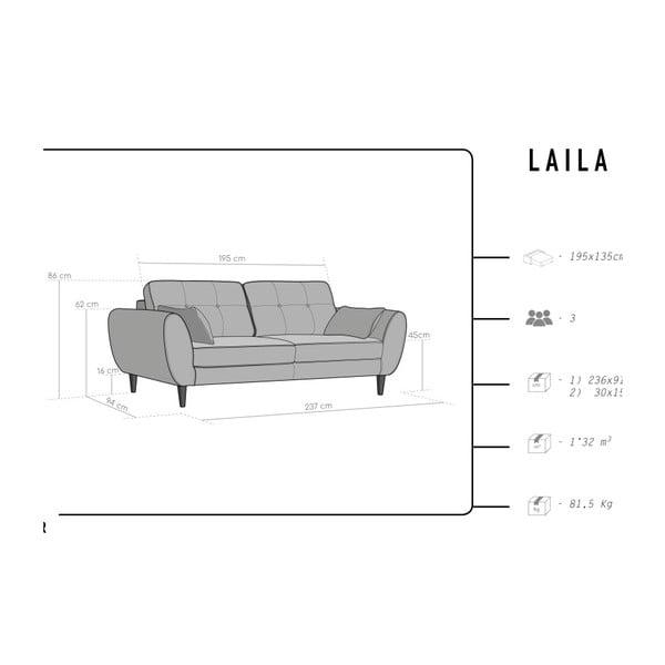 Laila sötétszürke kinyitható kanapé - HARPER MAISON